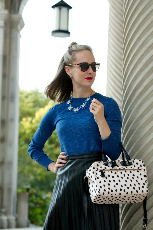 leather skirt, sweater, gray suede pumps, polka dot bag