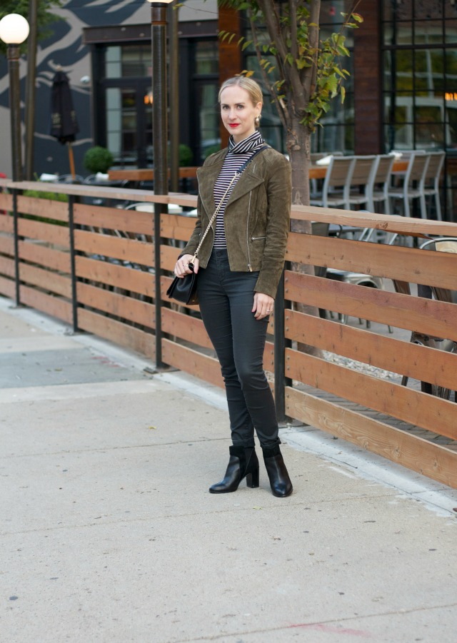 suede moto jacket, coated jeans, striped turtleneck, ankle boots, leopard bag