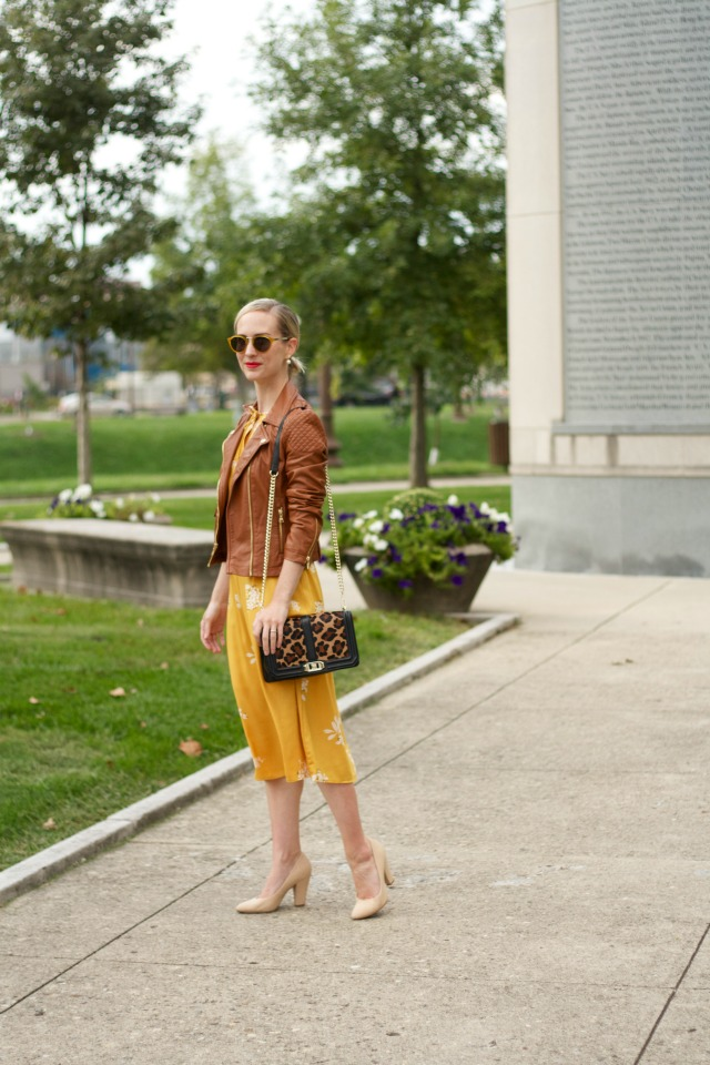 yellow dress, tan faux leather jacket, Rebecca Minkoff leopard Love bag, yellow sunglasses