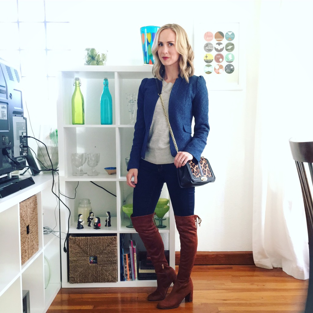 over the knee boots, sweater, blazer