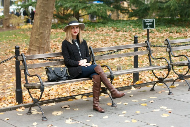 OTK boots, striped shirt, colorblock hat outfit