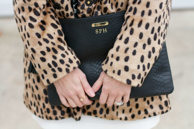 holiday party outfit, leopard faux fur coat, gold flats, Gigi New York uber clutch, tassel earrings