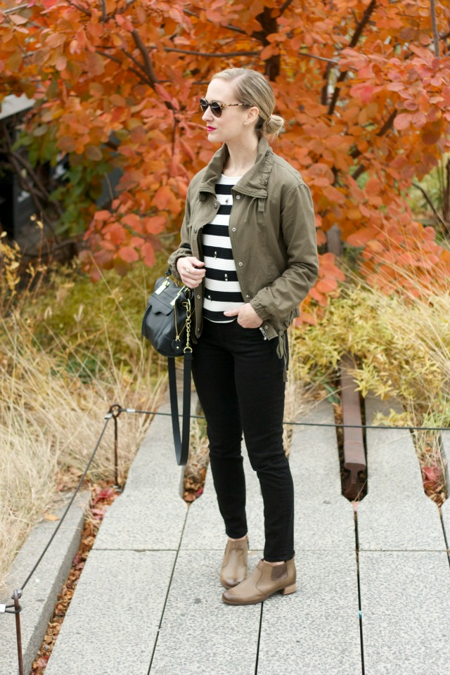 striped sweater, army jacket, black skinny jeans, flat ankle boots