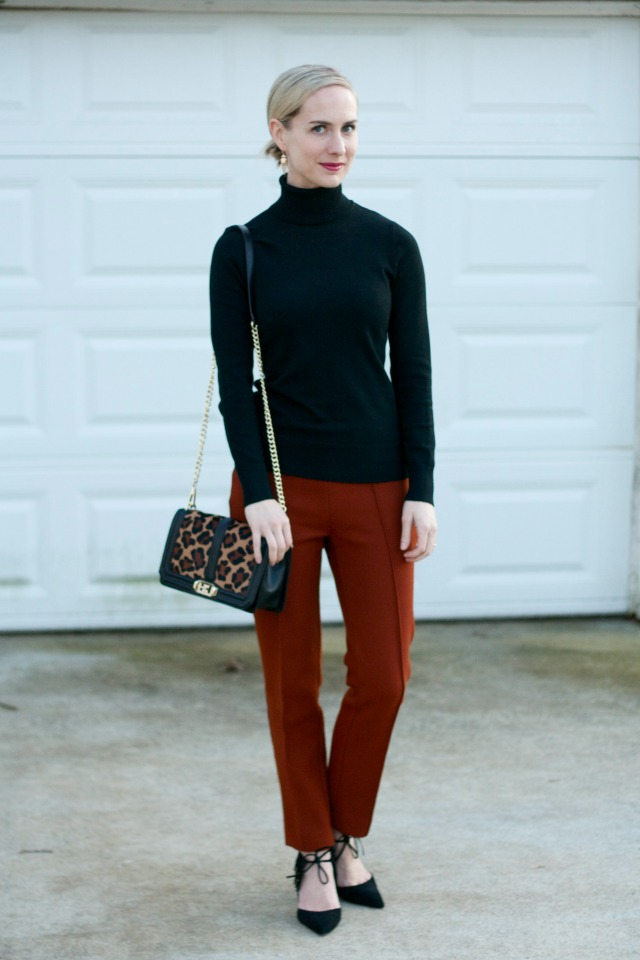 Kendra Scott Stephanie earrings, rust ankle pants, Rebecca Minkoff leopard bag