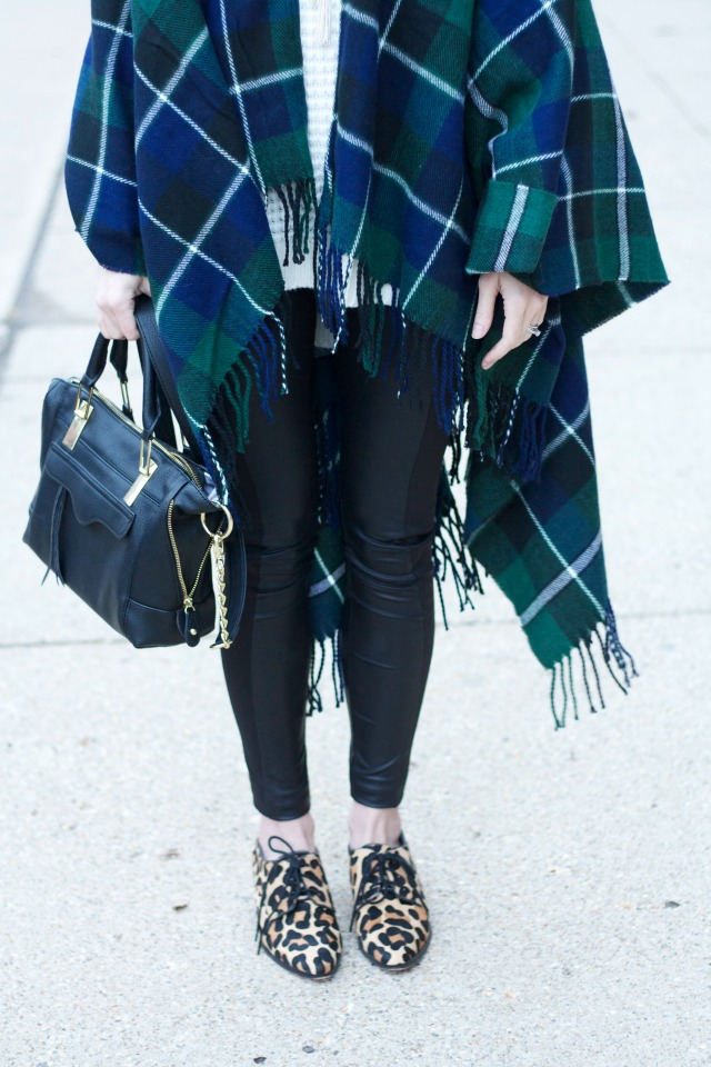 plaid poncho, tunic sweater, leather leggings, leopard oxfords outfit
