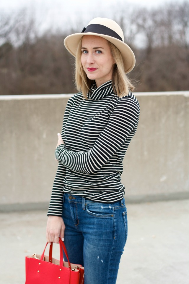 j.crew tissue turtleneck, Joe's Jeans, suede loafers, red bag, Kate Spade felt hat