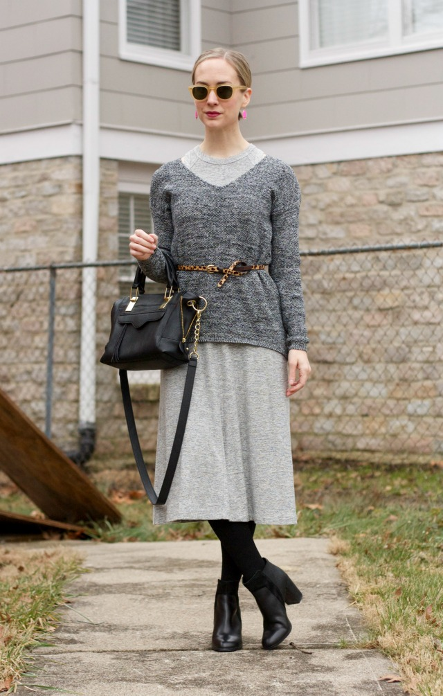 belted sweater over midi dress, ankle boots