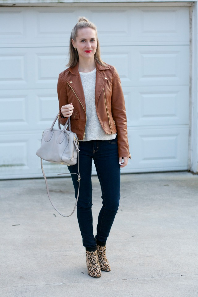 tan leather jacket, boucle tweed top, skinny jeans, leopard ankle boots