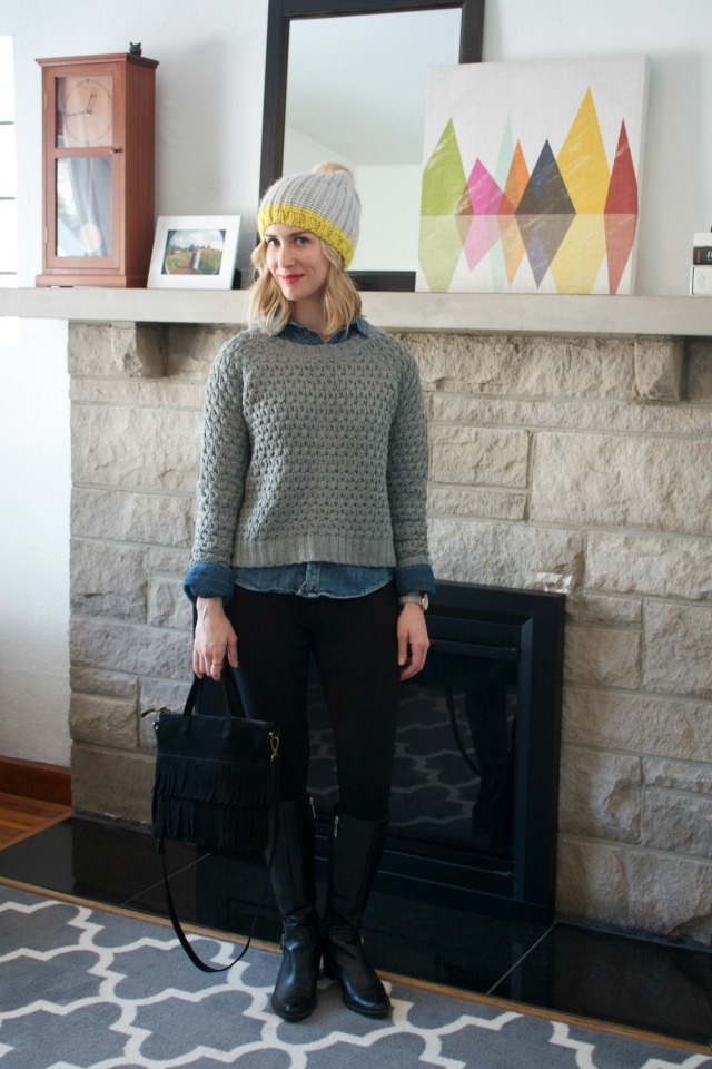 colorblock beanie, chambray, cold weather outfit