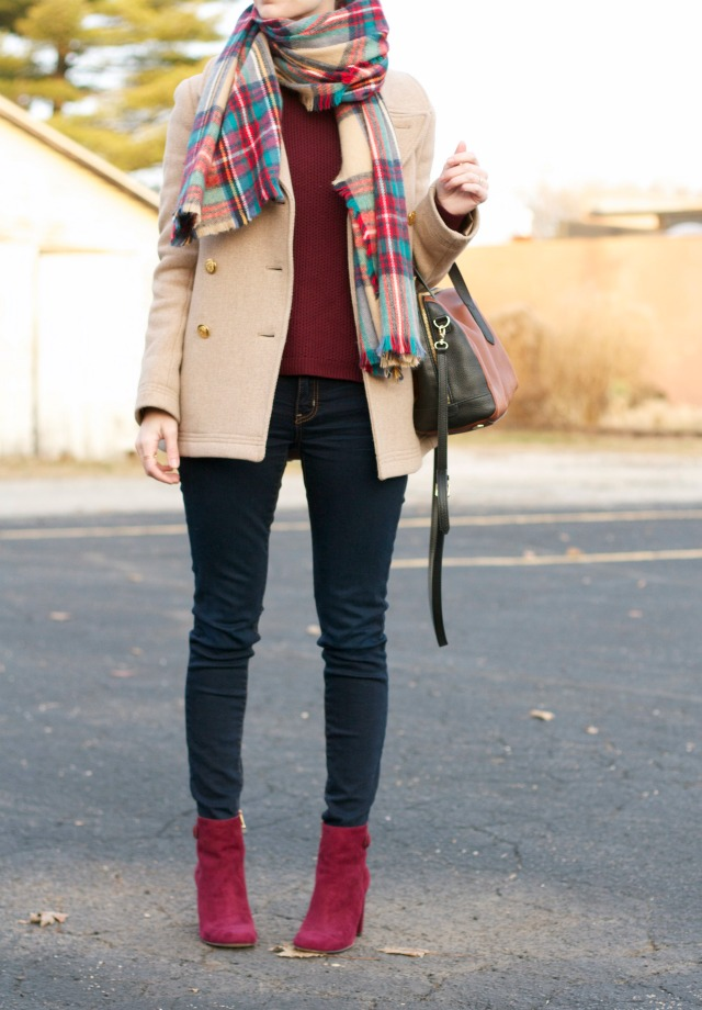 matching sweater and ankle boots, plaid blanket scarf, majesty peacoat