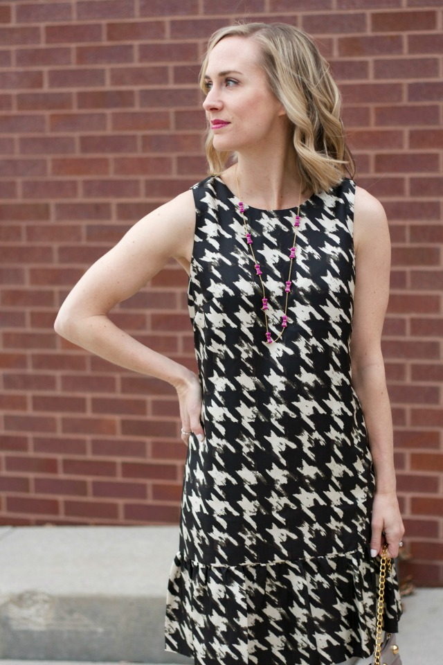 J.Crew houndstooth dress, wolfstooth, bejeweled kitten heels