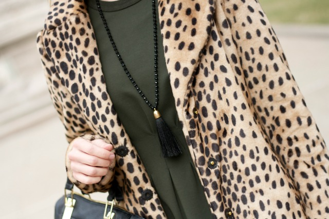 Madewell dress, snow boots, leopard coat, tassel necklace