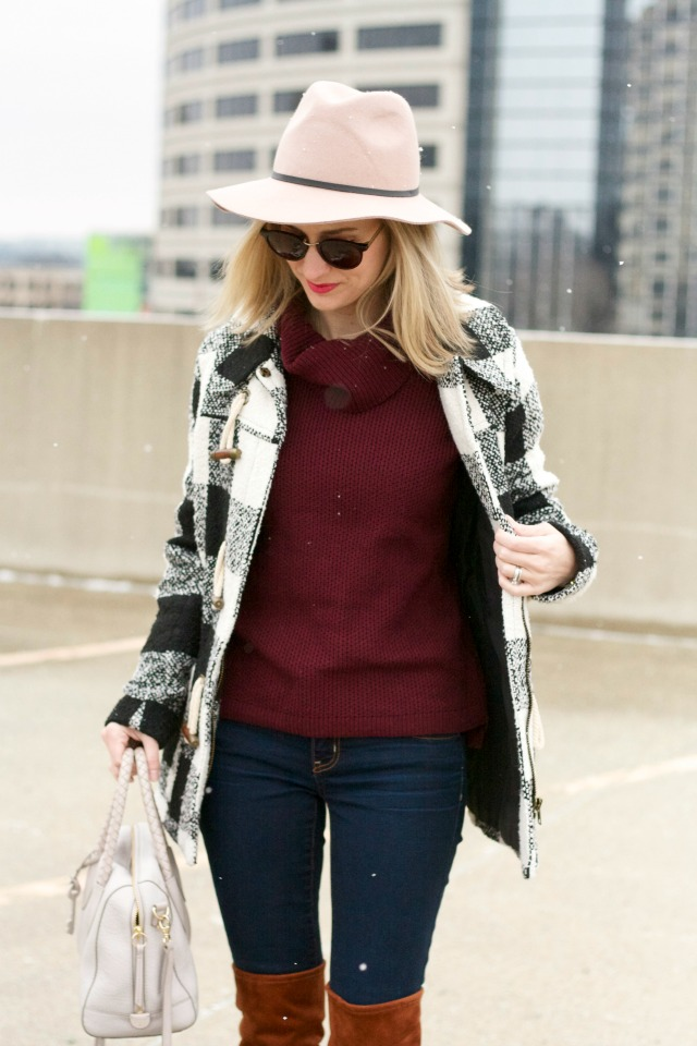 burgundy cowl neck, OTK boots, buffalo plaid coat, felt hat
