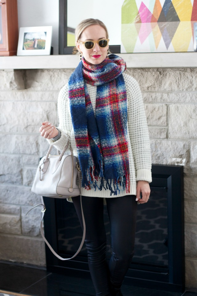 faux leather leggings, plaid blanket scarf, rain boots outfit