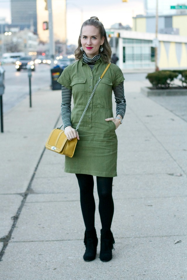 shirtdress over turtleneck, yellow Rebecca Minkoff bag, fringe ankle boots