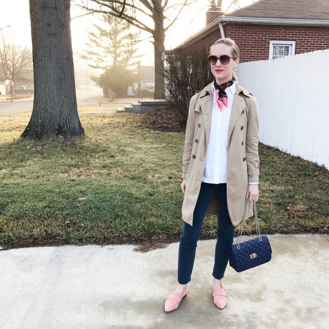 silk neck scarf, trench coat, suede loafers