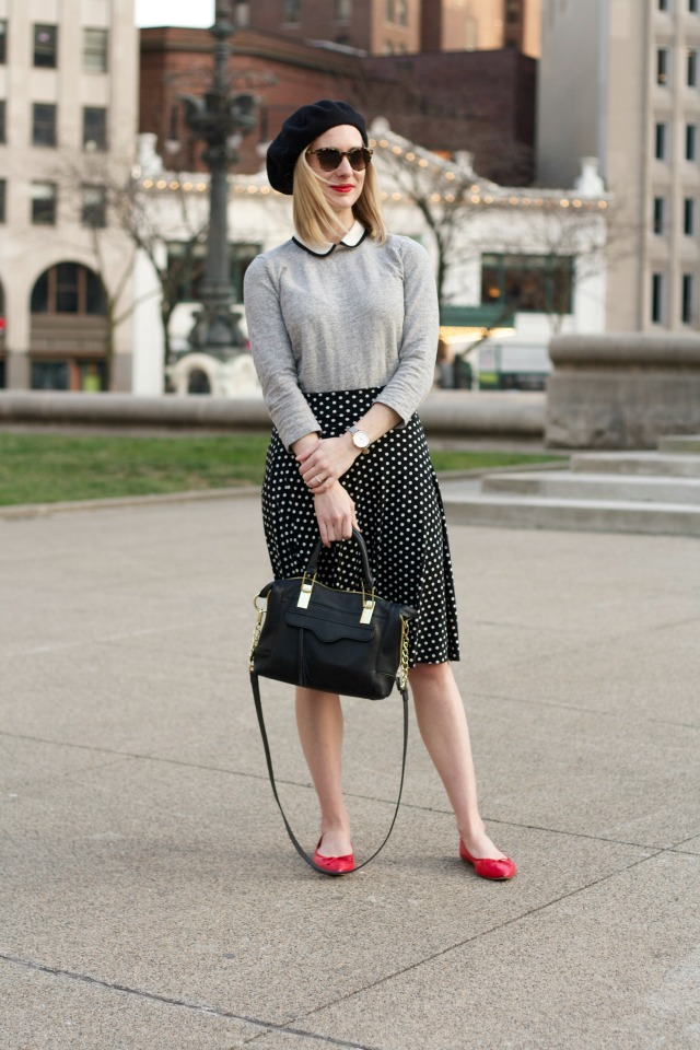 Parisian style, polka dot skirt, beret, Peter Pan collar, ballet flats, trench coat