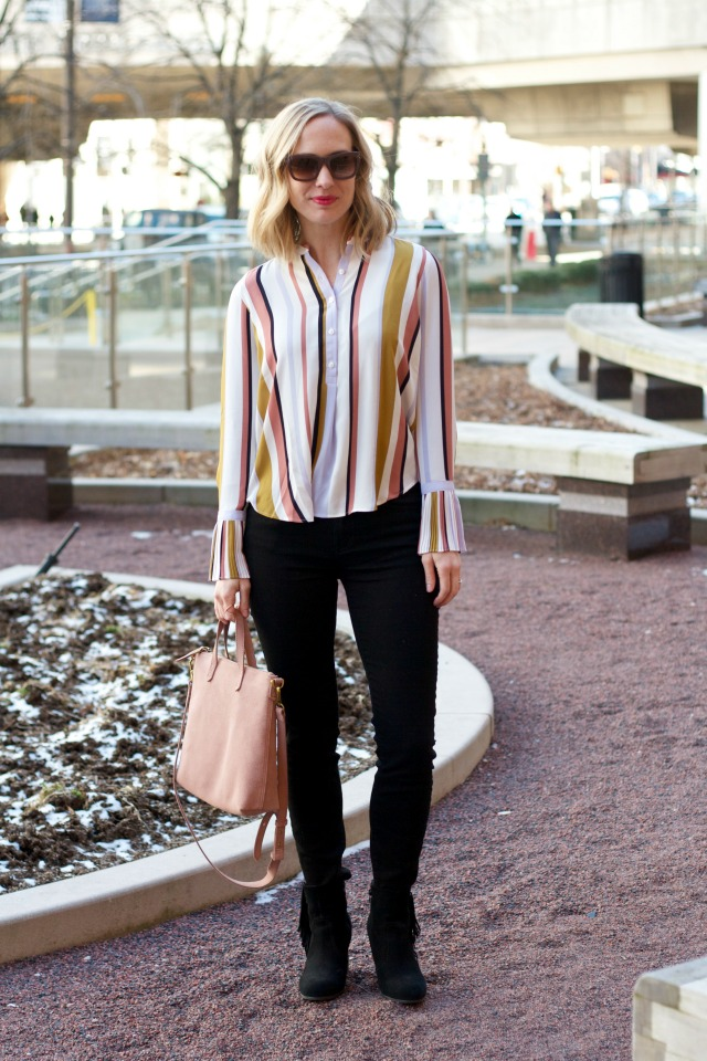 pleated bell sleeve shirt, black toothpick jeans, ankle boots outfit