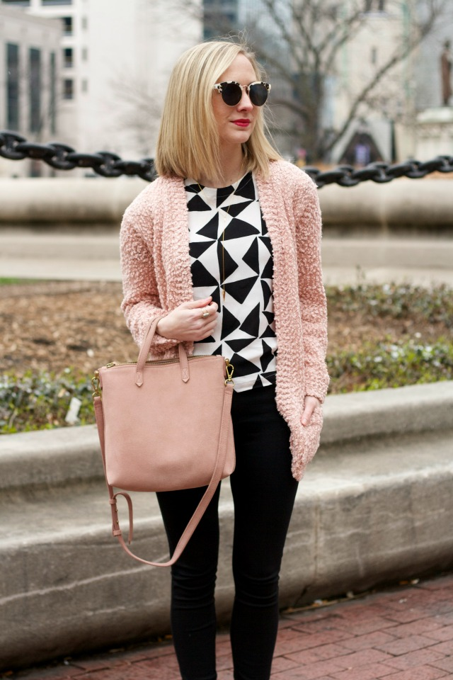 ponte pants, ankle boots, blush sweater, Madewell transport tote