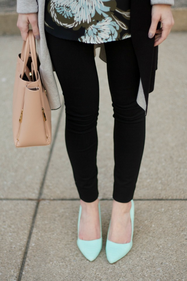 coatigan, ponte pants, mint green pumps