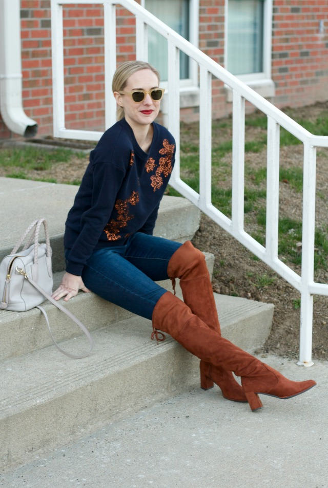 sequin sweatshirt, suede over the knee boots outfit