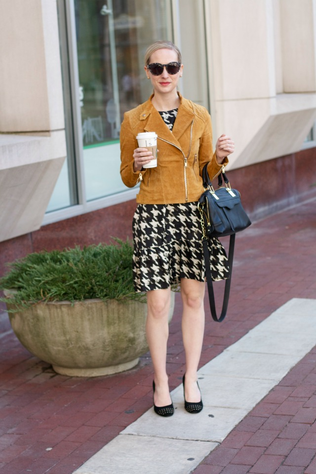 caramel suede moto jacket, houndstooth dress outfit