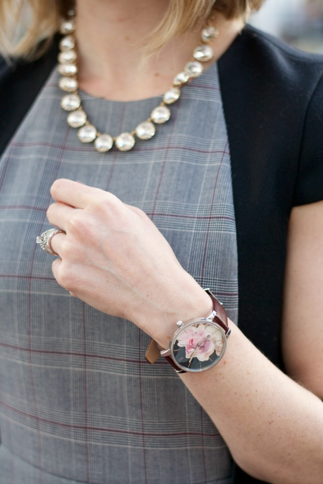 j.crew business dress, ankle strap flats, Ted Baker floral watch
