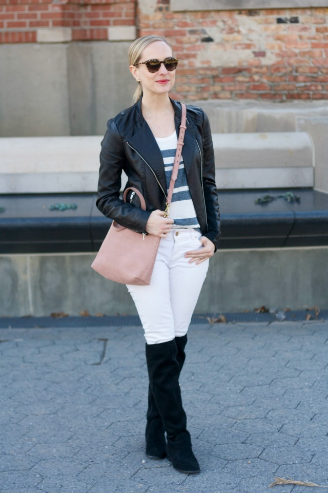 white jeans, OTK boots, leather jacket outfit