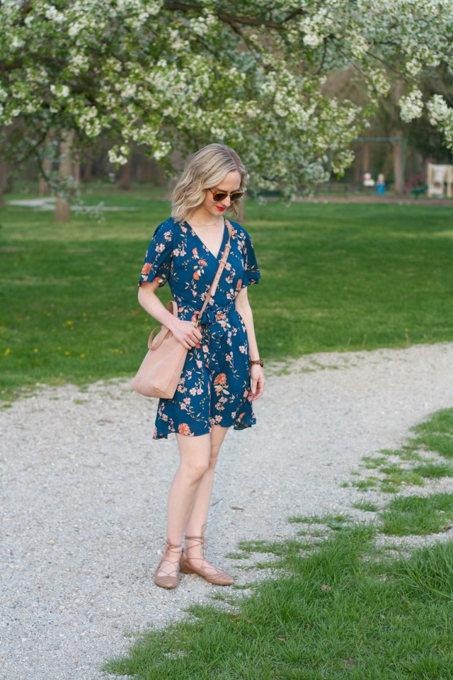 floral wrap dress, lace up flats, wood watch, suede blush tote