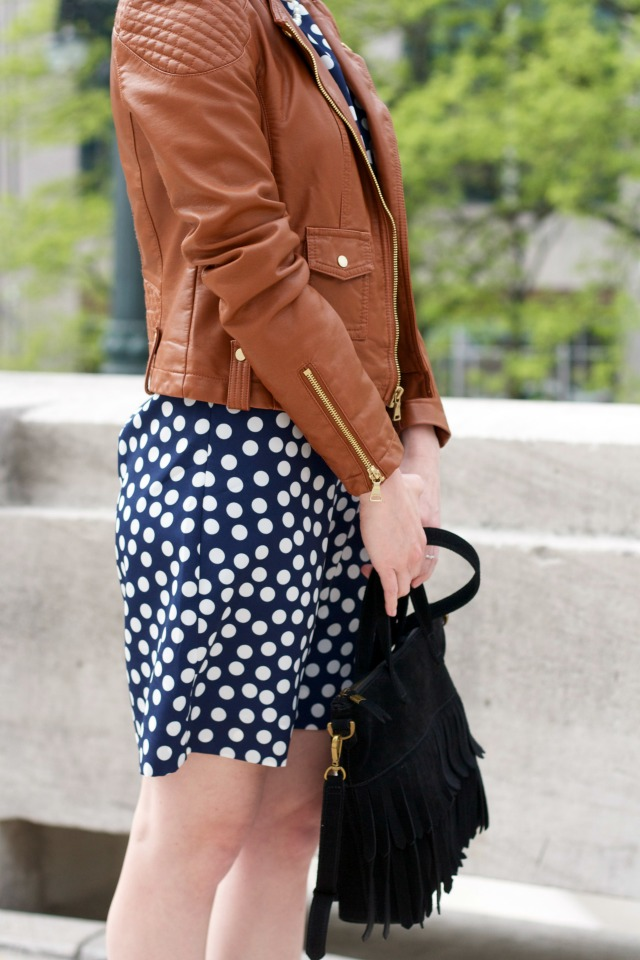 polka dot dress, faux leather moto jacket outfit
