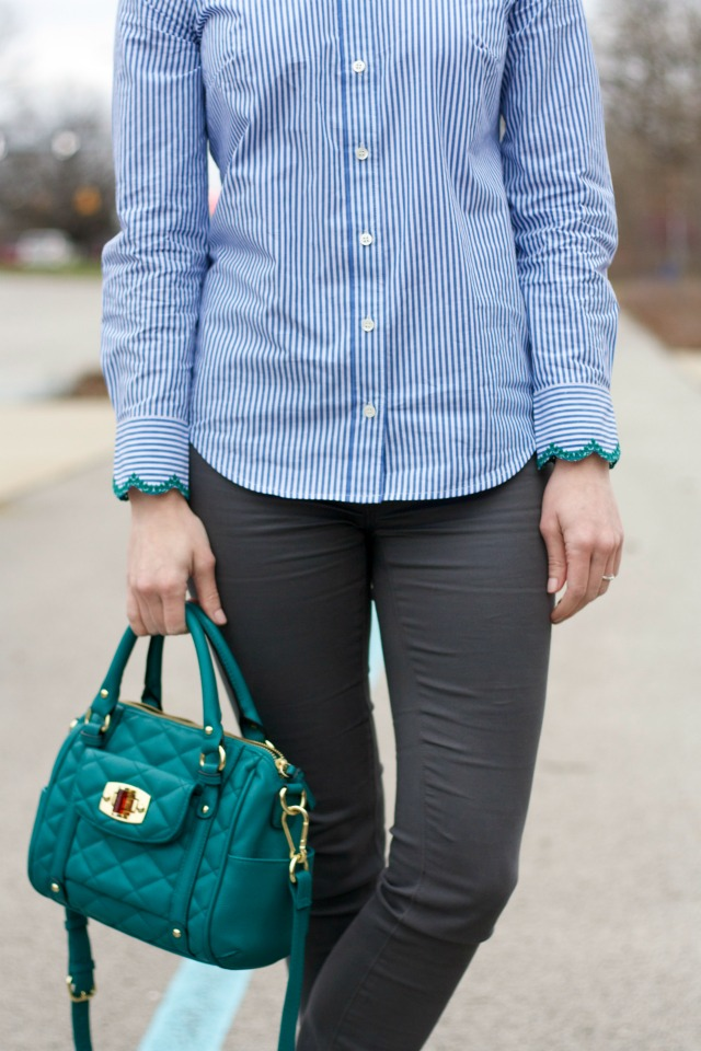 embellished collar shirt, skinny pants