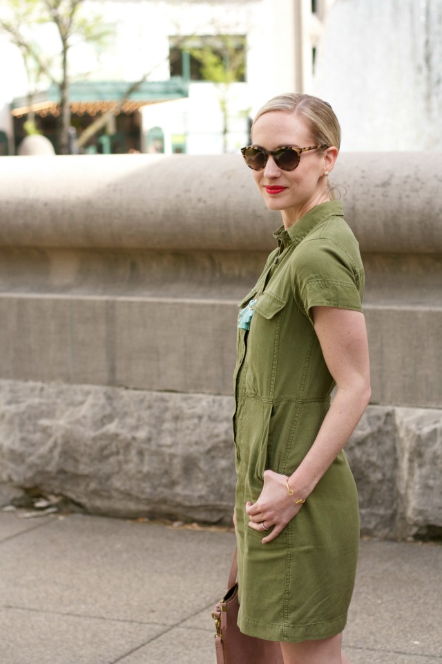 safair shirtdress, fringe necklace, d'orsay flats