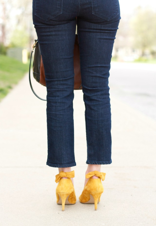 suede bow pumps, pink drop statement earrings, kick crop jeans