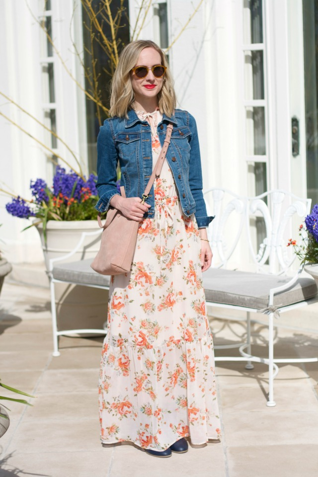 maxi dress with jean jacket and ankle boots outfit