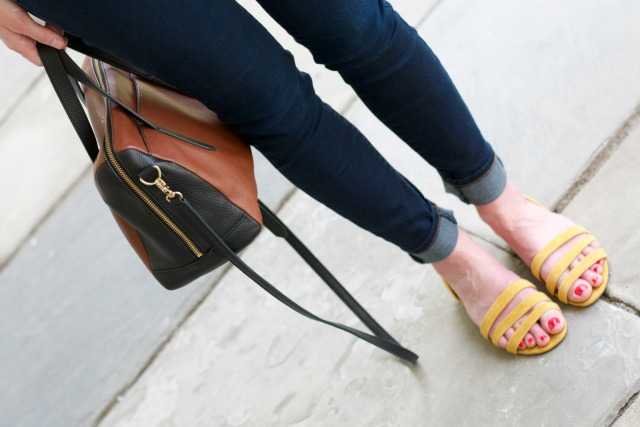 berry print bandana, breton shirt, jeans, yellow suede sandals
