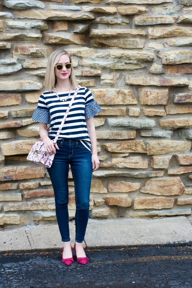 stripes and gingham, skinny jeans, pink suede pumps, Target purse