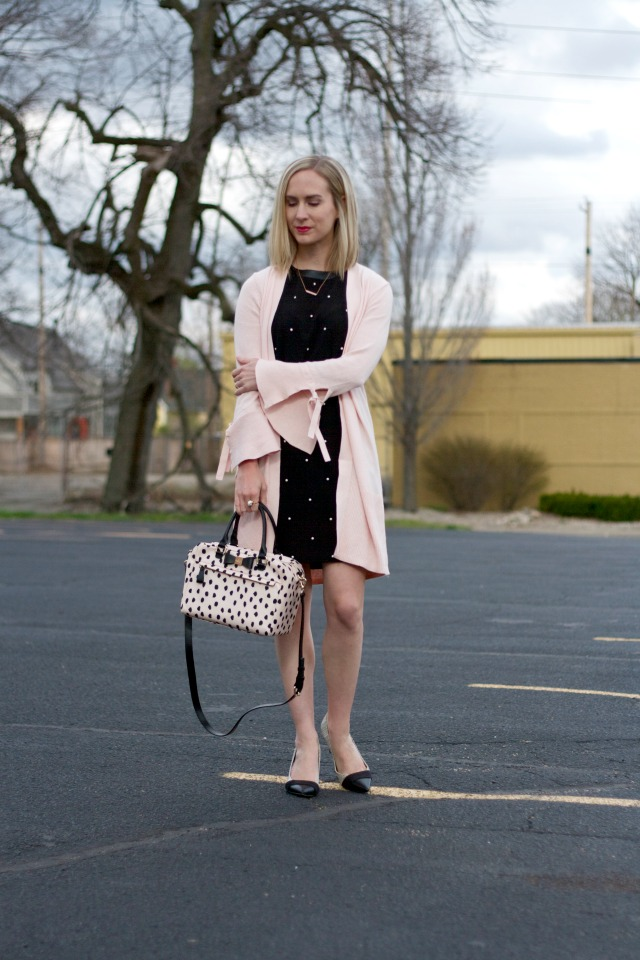 bell sleeve cardigan, shift dress, Kate Spade bag
