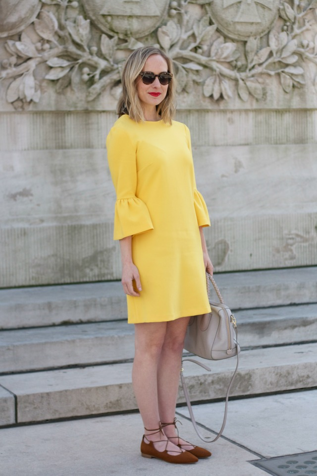 yellow bell sleeve dress, lace up flats