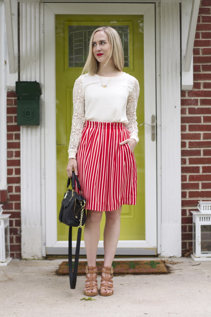 j.crew striped skirt, tan wedges outfit