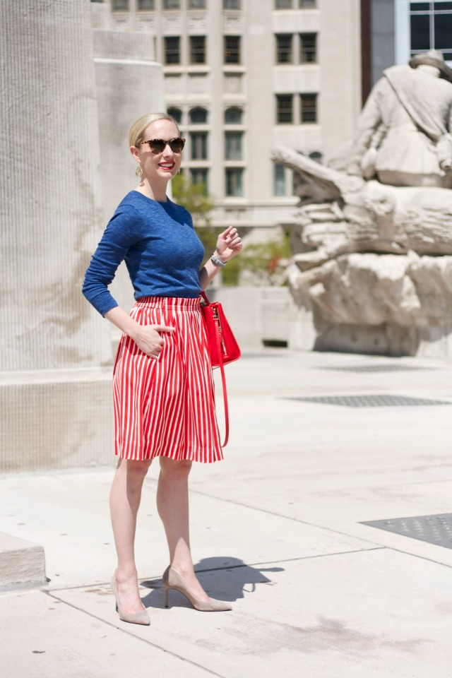 J.Crew factory striped skirt, summer sweater, gray suede pumps