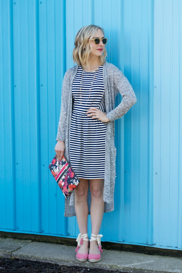 striped dress, duster cardigan, floral clutch, pink suede wedges