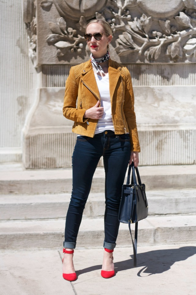 suede moto jacket, skinny jeans, white tee, neck scarf, ankle strap wedges