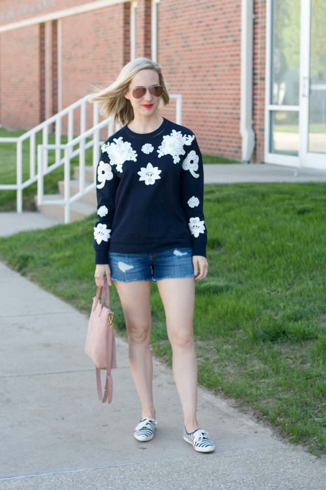 embroidered Victoria Beckham for Target sweatshirt, distressed jean shorts, Kate Spade Keds sneakers