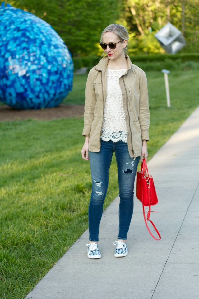 gingham sneakers, lace tee, field jacket