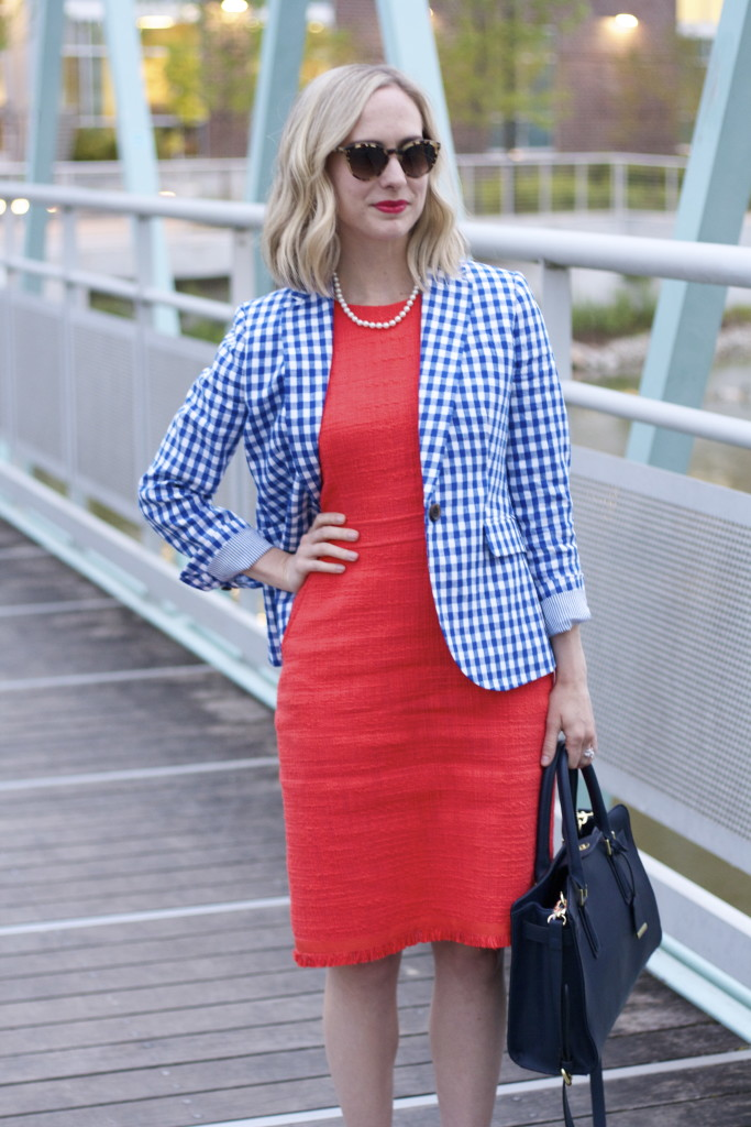 tweed dress, J.Crew gingham blazer