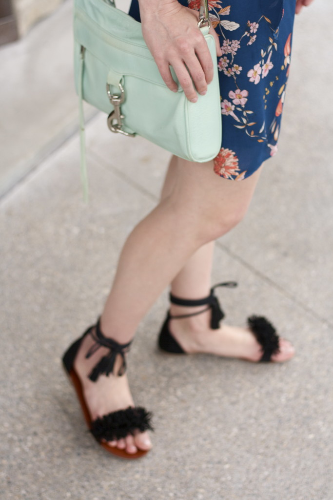 wrap dress, ankle tie fringe sandals, Rebecca Minkoff MAC bag