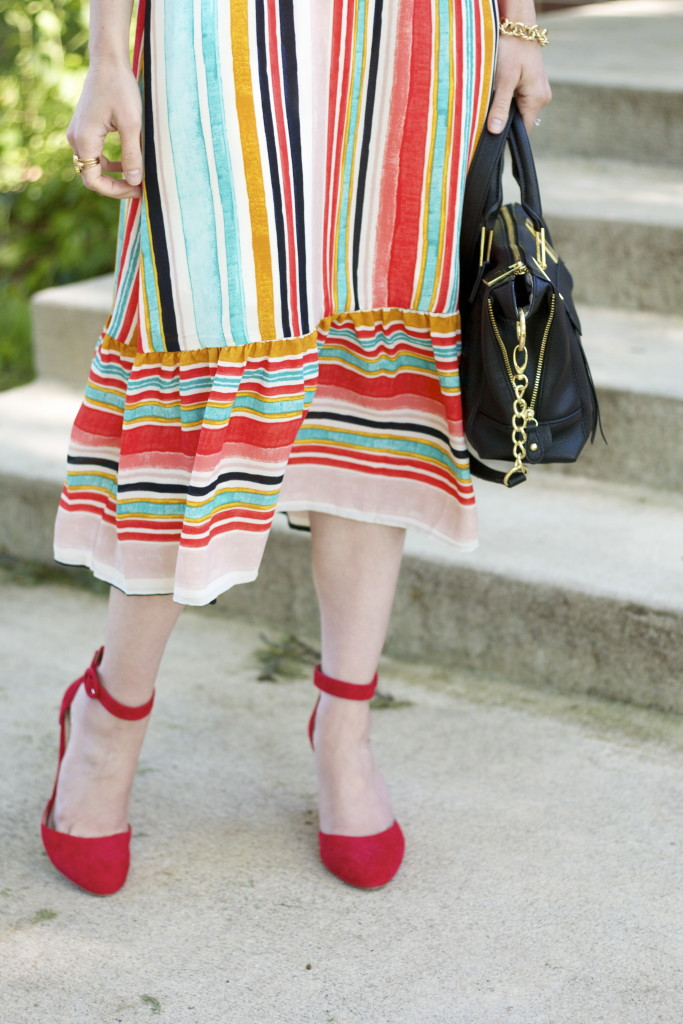striped ruffle hem midi dress, red suede wedges