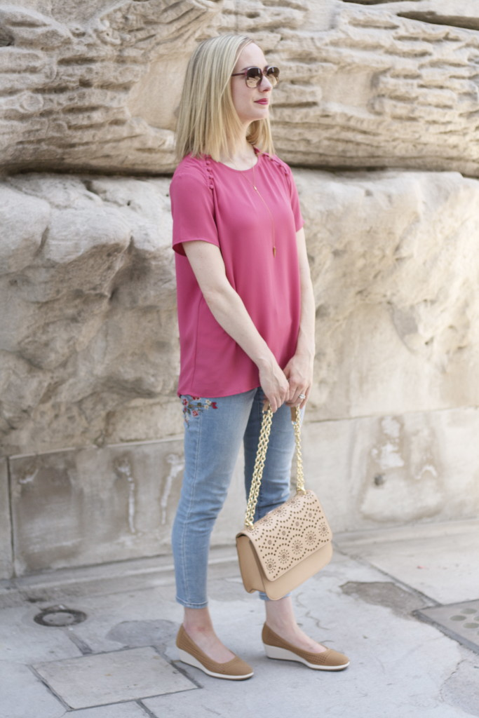 embroidered jeans, perforated wedges, casual Friday outfit