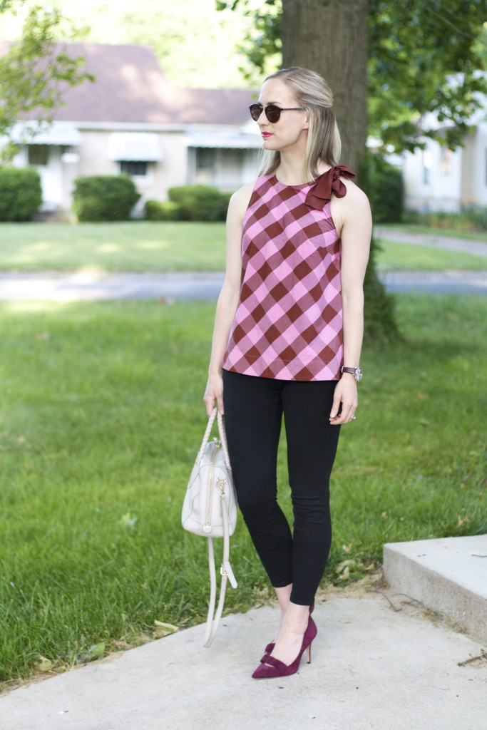 gingham bow top, ponte pants, suede pumps