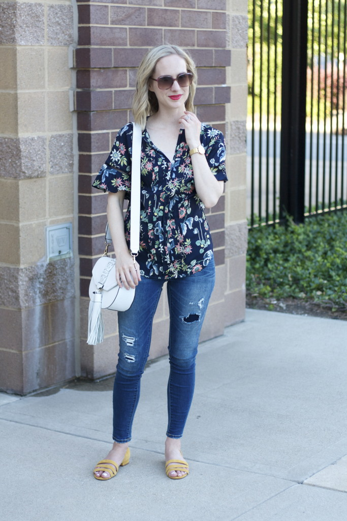 floral top, Target distressed jeggings, Madewell suede sandals, Rebecca Minkoff Isobel bag, Cluse 33mm gold watch